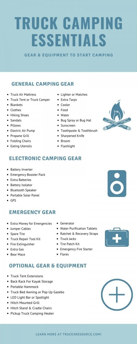 essential gear and equipment for a truck camping vacation